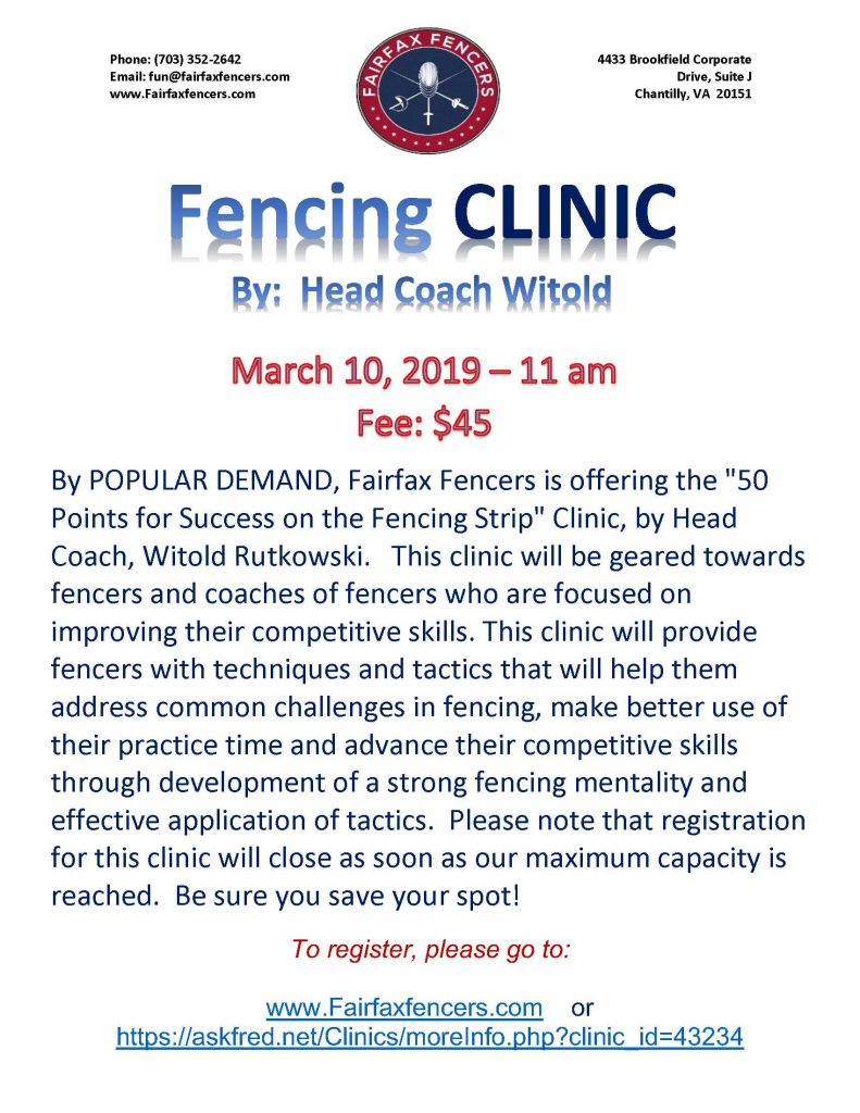 Fencing Clinic - 50 points for success